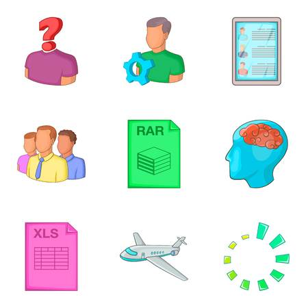 Cloud format icon set. Cartoon set of 9 cloud format vector icons for web design isolated on white background