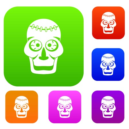 Skull set color collection Illustration