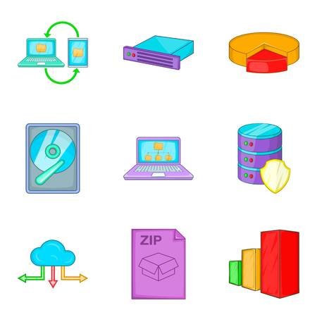 Clouding icon set, cartoon style Illustration