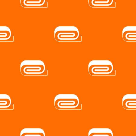Spa towel pattern repeat seamless in orange color for any design. Vector geometric illustration