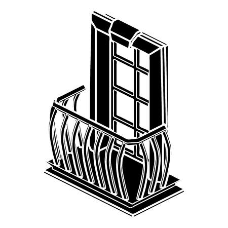 balustrade: Retro balcony icon, simple style