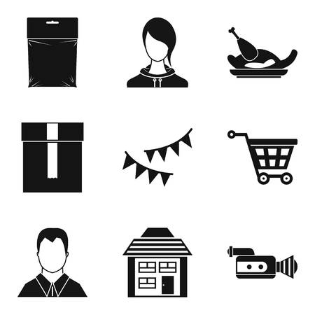 Home decoration icons set, simple style