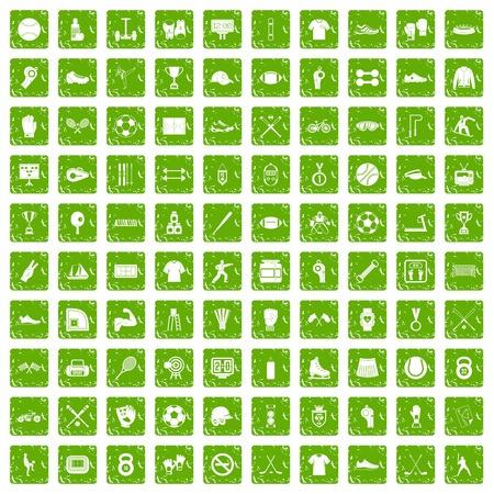 100 die atletenpictogrammen in de groene die kleur van de grungestijl worden geplaatst op witte vectorillustratie wordt geïsoleerd als achtergrond