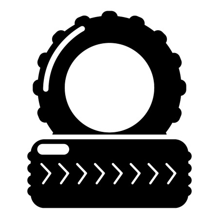 sports equipment: Paintball field tire barricade icon. Simple illustration of paintball field tire barricade vector icon for web design