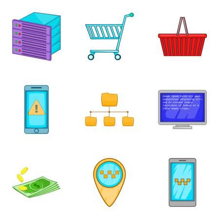 communication cartoon: Server computing icon set. Cartoon set of 9 server computing vector icons for web design isolated on white background