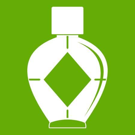 Light bottle of female perfume icon green Illustration