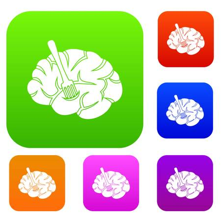 Fork is inserted into the brain set color collection Illustration