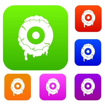 unnatural: Scary eyeball set icon color in flat style isolated on white. Collection sings vector illustration