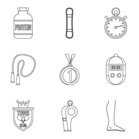 race winner: World record icons set, outline style Illustration
