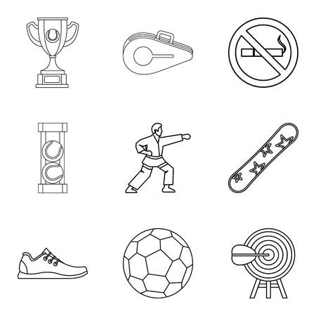 the strongest: Strongest athlete icons set. Outline set of 9 strongest athlete vector icons for web isolated on white background