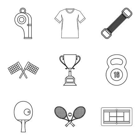Regalia of winner icons set, outline style