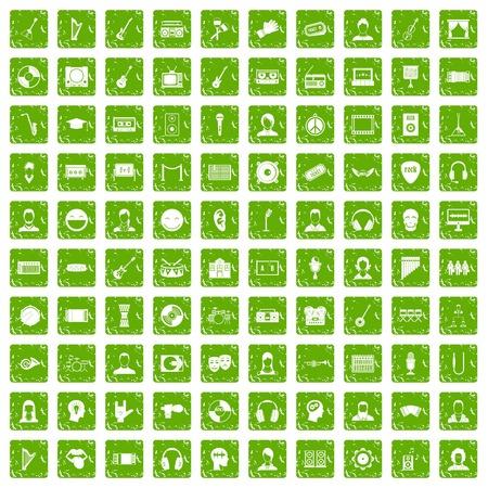 100 audience icons set grunge green