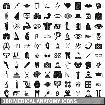 eye pipette: 100 medical anatomy icons set in simple style for any design vector illustration