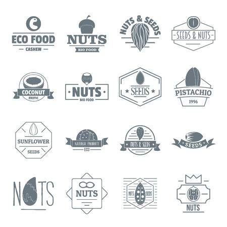 Geplaatste het embleempictogrammen van notenzaden, eenvoudige stijl