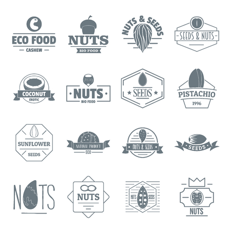 Nuts seeds logo icons set, simple style