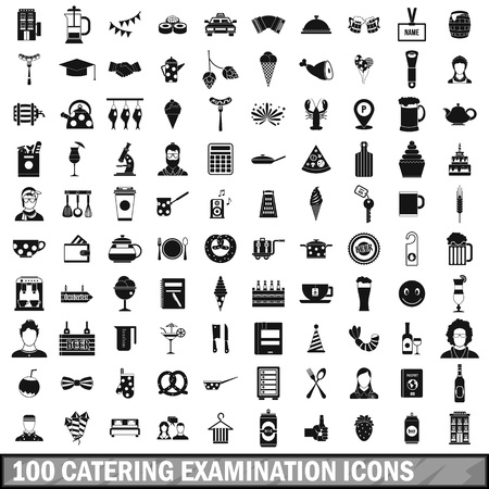 100 catering examination icons set in simple style for any design vector illustration