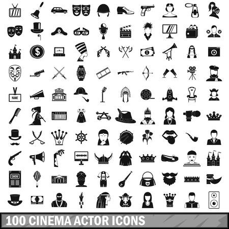 100 bioscoop acteur pictogrammen in eenvoudige stijl voor elk ontwerp vectorillustratie