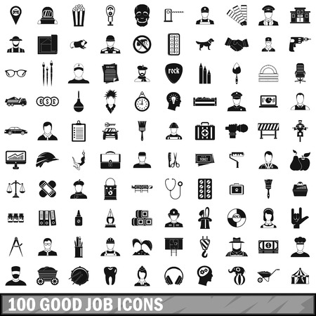100 good job icons set in simple style for any design vector illustration