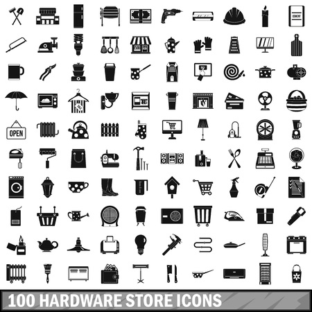 100 hardware store icons set in simple style for any design vector illustration Illustration