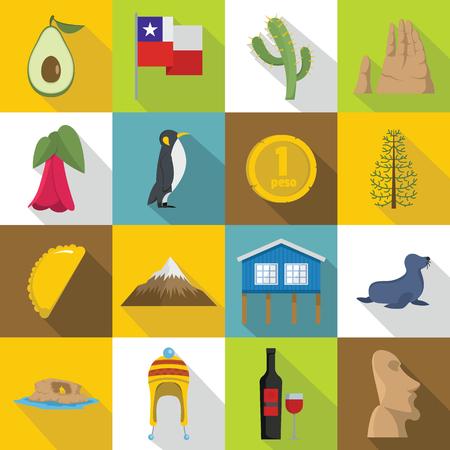 Cjile travel icons set. Flat illustration of 16 Cjile travel vector icons for web