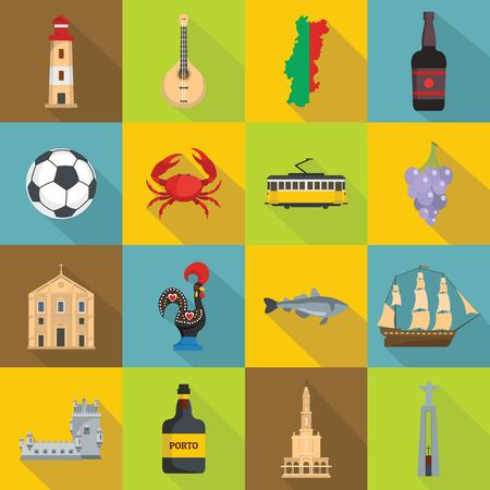 Portugal travel icons set, flat style Illustration