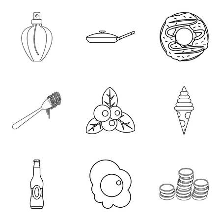 champagne celebration: Breakfast in bed icons set. Outline set of 9 breakfast in bed vector icons for web isolated on white background