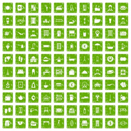 100 inn icons set in grunge style green color isolated on white background vector illustration Illustration