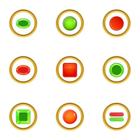 Glossy web button icons set, cartoon style