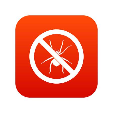 No spider sign icon digital red for any design isolated on white vector illustration Illustration