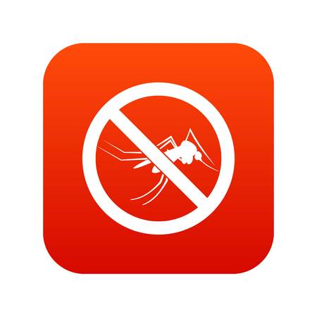 No mosquito sign icon digital red for any design isolated on white vector illustration Illustration