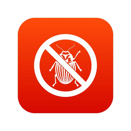 No potato bug sign icon digital red for any design isolated on white vector illustration