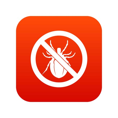No bug sign icon digital red for any design isolated on white vector illustration Stock Photo