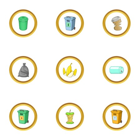 Junk icons set. cartoon style set of 9 junk vector icons for web design Illustration