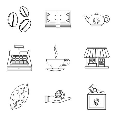 Coffee shop icon set. Outline set of 9 coffee shop vector icons for web design isolated on white background Çizim