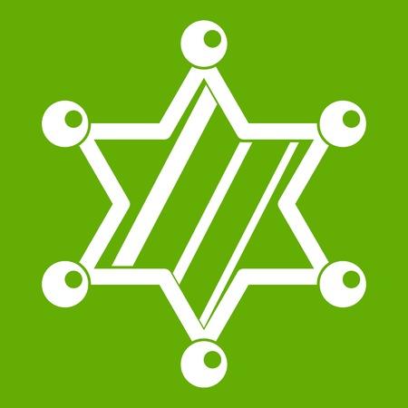 Sheriff star icon white isolated on green background. Vector illustration Illustration