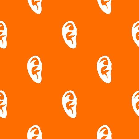 耳のパターンを任意のデザインのオレンジ色ではシームレスに繰り返します。ベクトルの幾何学的な図  イラスト・ベクター素材