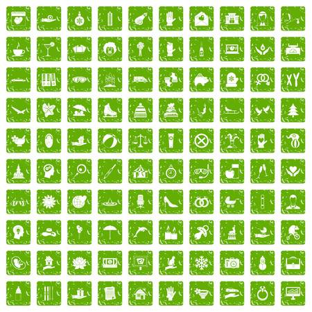 champagne celebration: 100 joy icons set in grunge style green color isolated on white background vector illustration