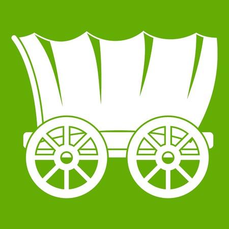 Het oude westelijke behandelde wit van het wagenpictogram dat op groene achtergrond wordt geïsoleerd. Vector illustratie
