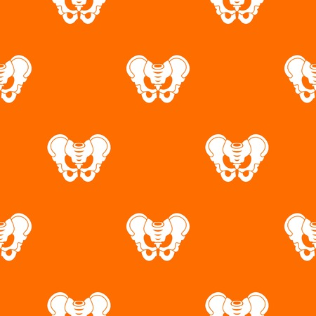 Pelvis pattern repeat seamless in orange color for any design. Vector geometric illustration