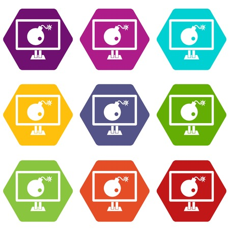 Bomb on computer monitor icon set many color hexahedron isolated on white vector illustration Illustration