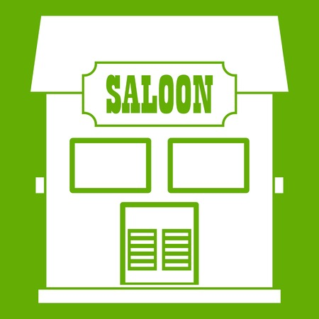 Western saloon icon white isolated on green background. Vector illustration Illustration