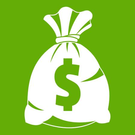 cash: Money bag with US dollar sign icon white isolated on green background. Vector illustration