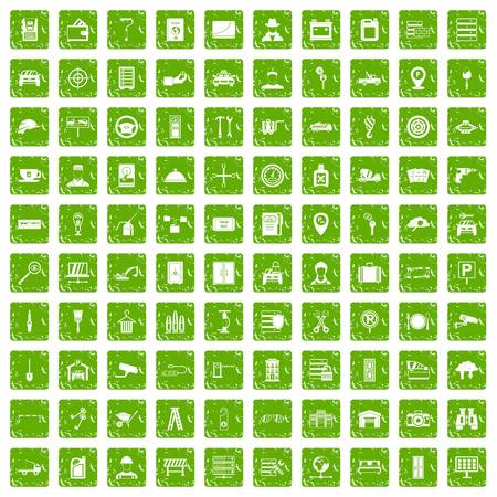 garage: 100 keys icons set in grunge style green color isolated on white background vector illustration Illustration