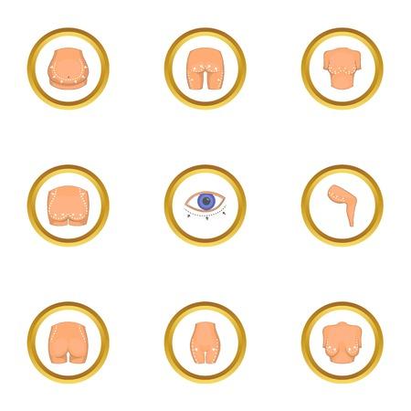 Body correction icons set, cartoon style Illustration