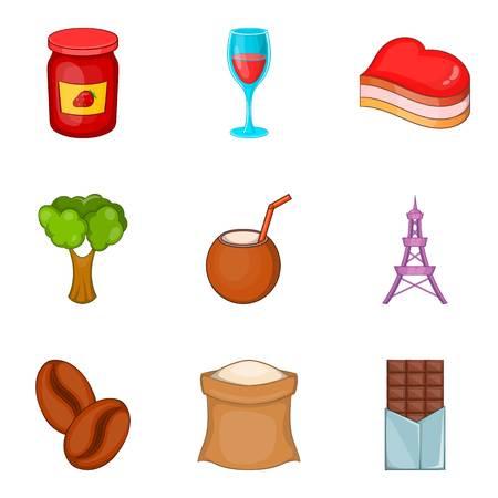 Food time icon set, cartoon style Illustration