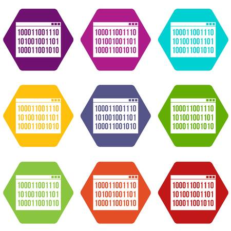 numbers abstract: Binary code icon set color hexahedron