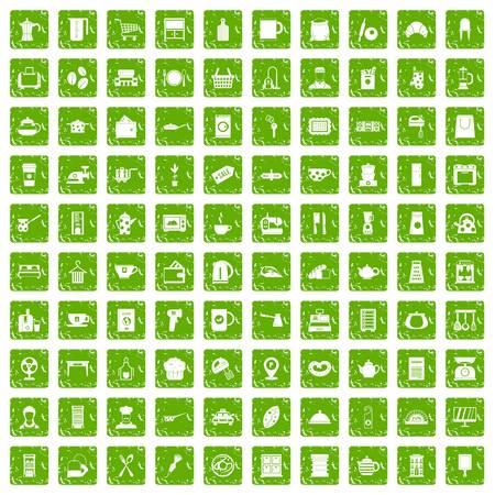 100 kitchen utensils icons set grunge green