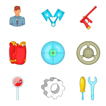 car isolated: Safeness icons set, cartoon style Illustration