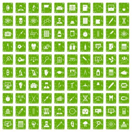 100 lab icons set grunge green Illustration