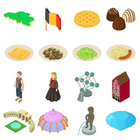 Germany travel icons set, isometric colorful style